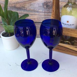 Vintage Cobalt Blue 🍷 Wine Glass Set